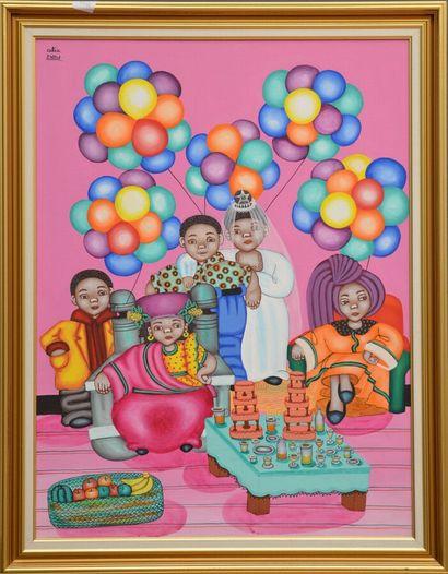 ROY Alix (1930 - 2010)  Jour de fête  Acrylique sur toile signée en haut à gauche...
