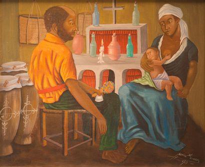 SAINT-CHARLES Camille (1947 - 2003)  La famille du houngan  Acrylique sur toile...