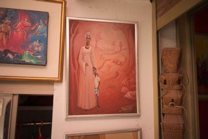 AUGUSTIN Pierre (1945)  Tendresse féminine  Acrylique sur isorel signé en bas à...