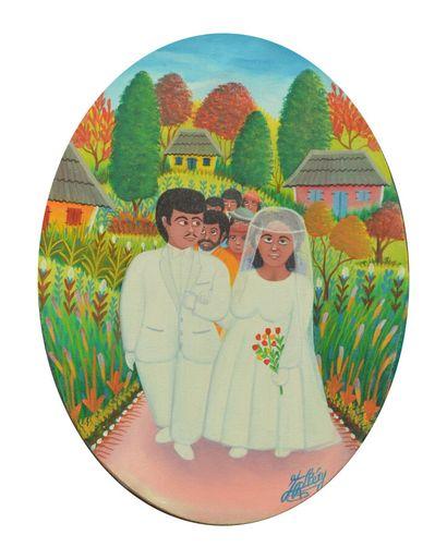 CHÉRY Jacques-Richard (1929)  Les mariés  Acrylique sur toile signée en bas à droite...