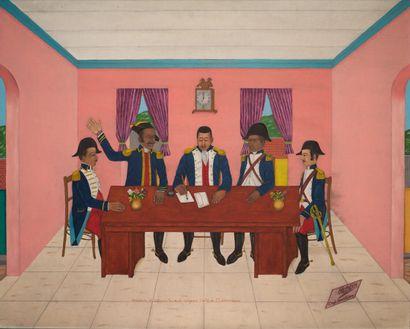 OBIN Philomé (1892 - 1986)  Dessalines et Boisrond-Tonnerre rédigeant l'acte de...