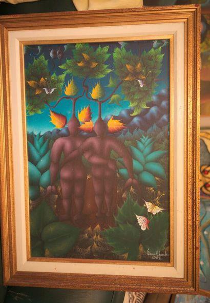 CHRYSLER Bruno (1944)  Amélita et Dieubon  Acrylique sur toile signée en bas à droite...