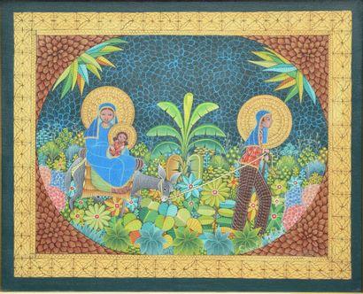 ISMAËL Saincilus (1940 - 2000)  La fuite en Egypte  Huile sur toile signée en bas...