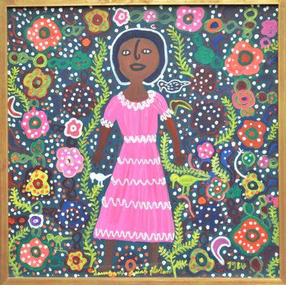 SAINT-FLEURANT Louisiane (1924 - 2005)  Tifam enchantée  Acrylique sur isorel signé...
