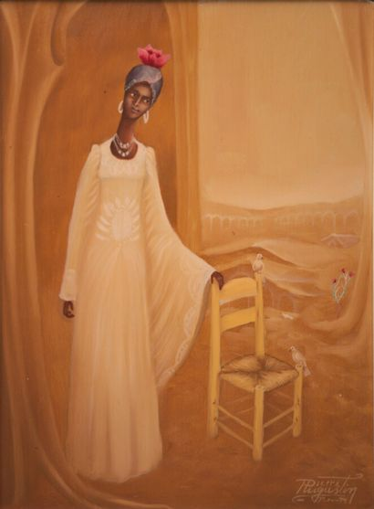 AUGUSTIN Pierre (1945)  Femme aux deux colombes...