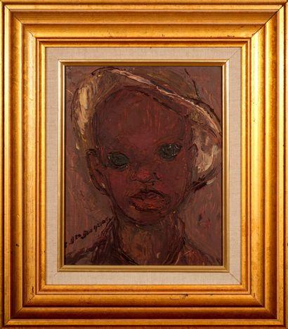 JEAN-JACQUES Carlo (1943 - 1990)  Portrait de Yacin  Huile sur isorel signé en bas...