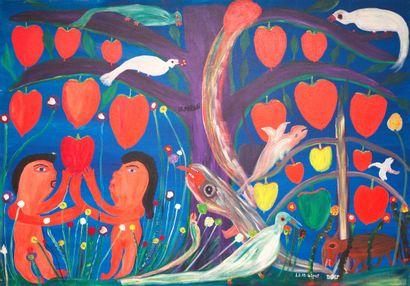 AUGUSTIN Pierre-Sylvain dit PAYAS (1941)  Le Paradis terrestre  Acrylique sur toile...