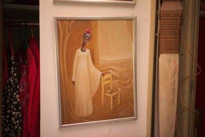AUGUSTIN Pierre (1945)  Femme aux deux colombes  Acrylique sur isorel signé en bas...