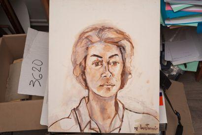TURNIER Luce (1924 - 1994)  Portrait  Huile sur carton entoilé signé en bas à droite...