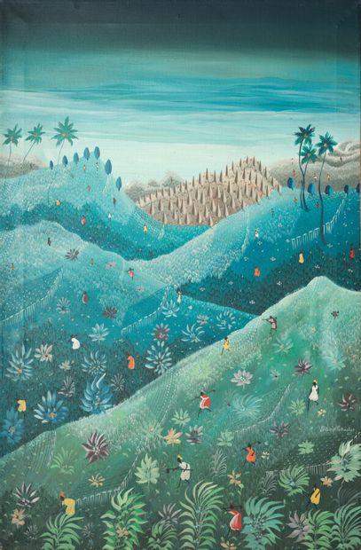 SAINTUS David (1960)  À flanc de montagne  Acrylique sur toile signée en bas à droite...