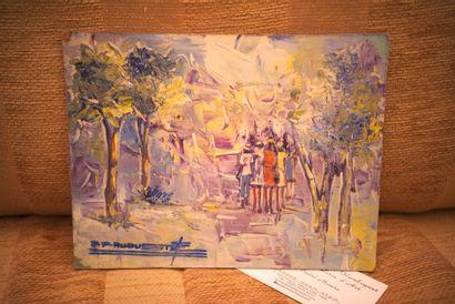AUGUSTE S. P.  En promenade  Huile sur isorel signé en bas à gauche  16 x 20 cm