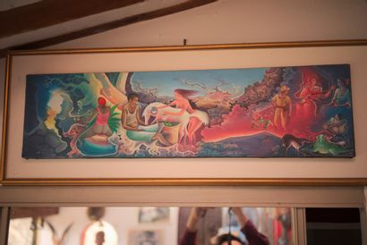 DOMOND Ézène (1956)  Cérémonie vodou  Acrylique sur toile signée en bas à gauche...