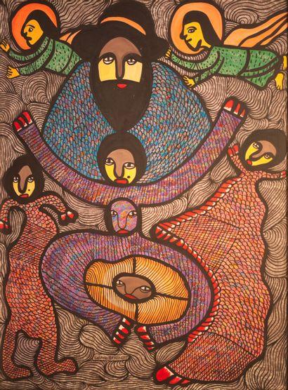 SAINT-HUBERT Roland (1951)  Loas  Acrylique sur isorel signé au milieu en bas  100...