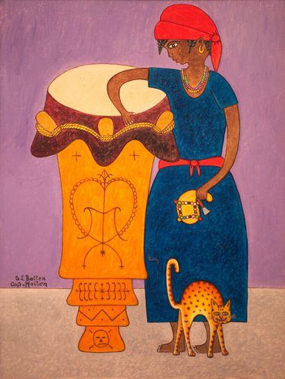 BOTTEX Seymour-Etienne (1926 - 2016)  La mambo au chat  Huile sur toile signée en...