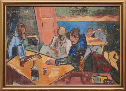 LAZARD Luckner (1928 - 1998)  Repos  Huile sur toile signée en bas à droite  53...