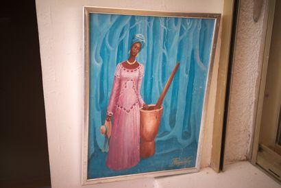 AUGUSTIN Pierre (1945)  Femme au pilon  Acrylique sur isorel signé en bas à droite...