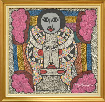 PIERRE-LOUIS Prospère (1947 - 1995)  Sacrifice du boeuf  Acrylique sur toile signée...