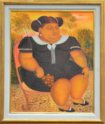 RICHÉ Pierre-Louis (1954)  Anicia  Huile sur isorel signé en bas à droite  61 x...