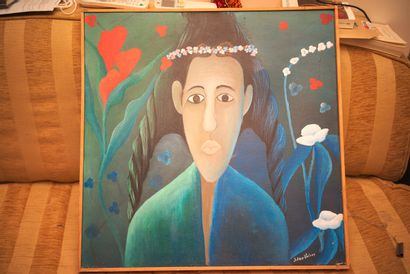 VALERY Julien (1958 - 2001)  Portrait of Alicia  Acrylic on canvas signed lower...