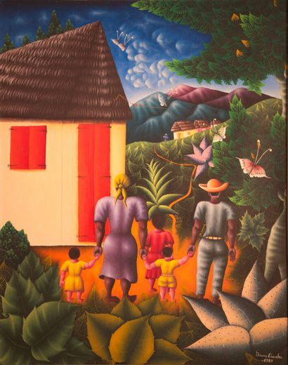 CHRYSLER Bruno (1944)  The family hut  Acrylic on canvas signed lower right  76...