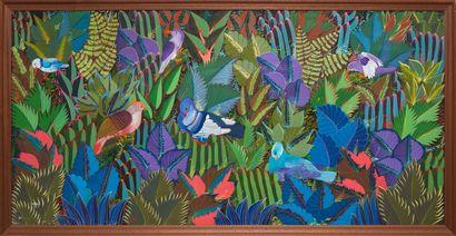 RJAMES V.  On roucoule  Huile sur toile signée en bas à gauche  60 x 121 cm  Avec...