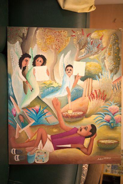 VALERY Julien (1958 - 2001)  L'artiste recevant l'inspiration  Acrylique sur toile...