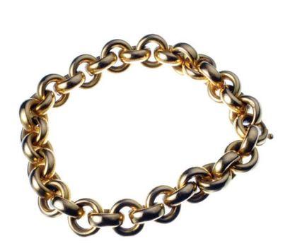 BRACELET en or jaune à mailles rondes Poids:...