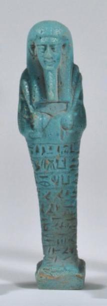 Oushebti momiforme, coiffe d'une perruque...