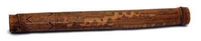 ETUI A MESSAGE en bambou finement grave d'une...