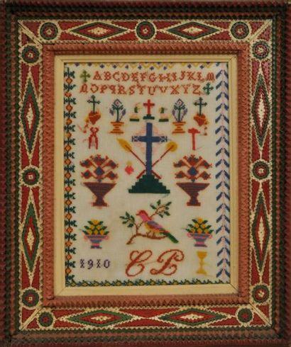 Abécédaire daté 1910 à décor religieux (dans...