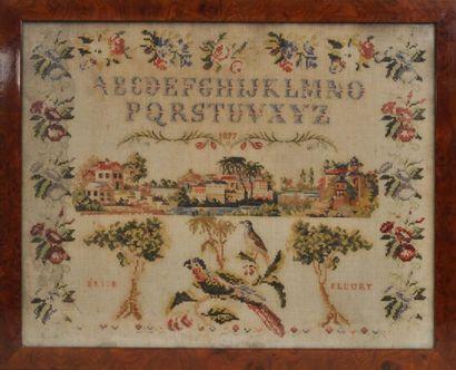 Abécédaire daté 1877 par Elise Fleuri à décor...