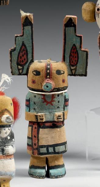 Kachina aux yeux humains sur fond jaune Hopi,...