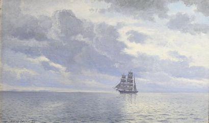Alfred OLSEN (1854-1932) Marine au large de la côte de Skagen au Danemark Huile sur...