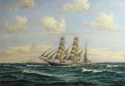 Frans LANDT (1885-1975) Marine Huile sur toile signée Fr. Landt et datée 1938 en...