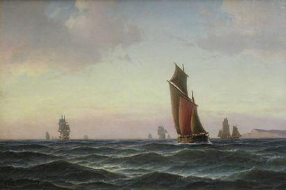 Carl BILLE (18l5-l898) Marine Huile sur toile signée et datée 1875 en bas à gauche...