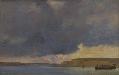 Emanuel LARSEN (1823-1859) Etude de ciel Huile sur carton signée Emanuel Larsen et...
