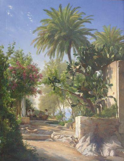 Carl Frederik AAGAARD (1833-1895) Vue de Capri Huile sur toile 121 x 93,5 cm Exposé...