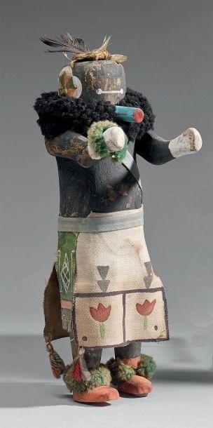 KACHINA SIPIKINE au masque noir Zuni Cottonwood,...