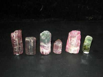 Lot de six cristaux divers de TOURMALINE...