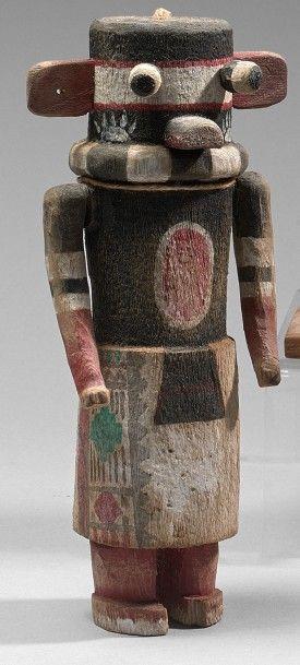 KACHINA HOW BEAR Cottonwood, pigments, Hopi,...