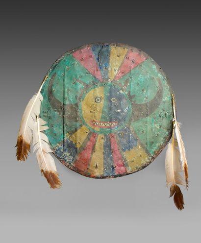 Tres rare BOUCLIER DE GUERRE Pueblo probablement Acoma ou Jemez XIX° siecle ou plus...