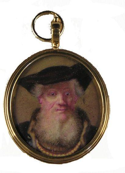 ECOLE ANGLAISE, d'après REMBRANDT Portrait d'homme âgé. Miniature ovale, sur ivoire....