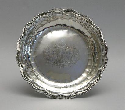 Petite JATTE ronde polylobée en argent, bordures...