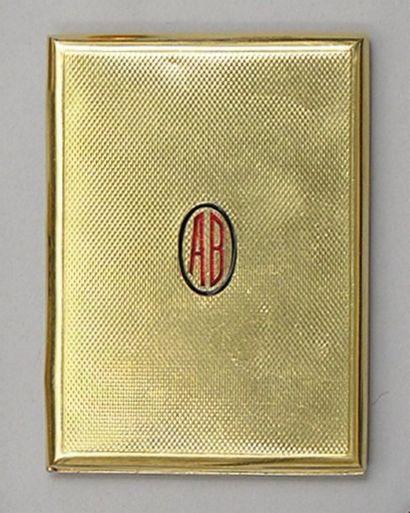 BOITE rectangulaire en or jaune strié Monogrammé...