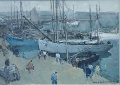 Henry Maurice CAHOURS (1889-1974) Quai de port anime Aquarelle sur traits de fusain,...