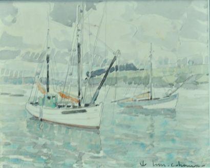 Henry Maurice CAHOURS (1889-1974) Voiliers amarres en pleine mer Aquarelle et traits...