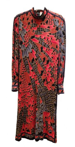 LEONARD: Robe en jersey de soie dans les...