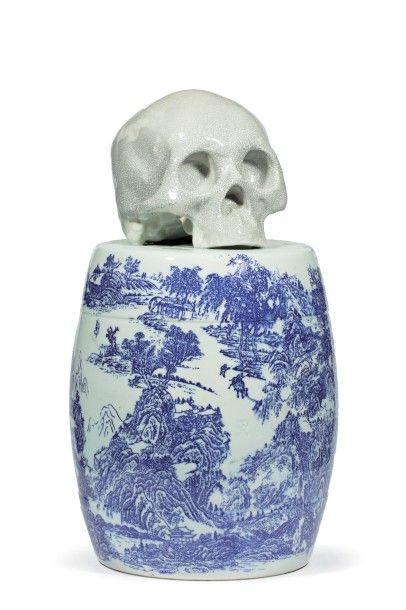 HUANG Yan (Né en 1966)  Shanshui Tatoo Skull,...