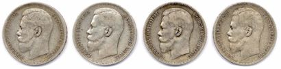 Lot de 4 monnaies russes en argent à l'effigie...