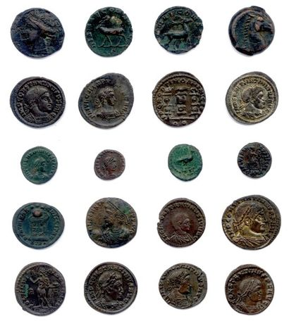Cinq plateaux contenant 304 monnaies en bronze...